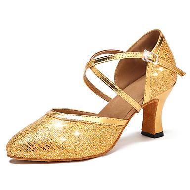 preiswerte Standardtanzschuhe & Modern Dance Schuhe-Damen Tanzschuhe Kunstleder Schuhe für modern Dance Schnalle / Glitzer / Pailetten Absätze Kubanischer Absatz Maßfertigung Gold