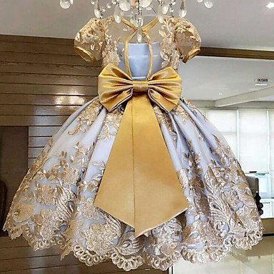 cheap Baby & Kids-Kids Girls' Flower Sweet Birthday Party Butterfly Jacquard Lace Bummies And Bow Embroidery Short Sleeve Knee-length Dress Gold 8-9 Years(150cm)
