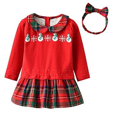 povoljno Odjeća za bebe-Dijete Djevojčice Aktivan Karirani uzorak / Božić Dugih rukava Haljina Red / Dijete koje je tek prohodalo