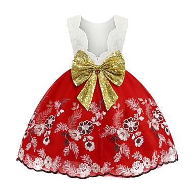 preiswerte Mode für Mädchen-Kinder Mädchen Retro Solide Weihnachten Rückenfrei Pailletten Schleife Ärmellos Knielang Kleid Rosa