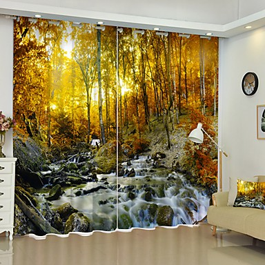 könnyű digitális nyomtatás az erdőben 3d függöny árnyékoló függöny nagy pontosságú fekete selyem anyagból kiváló minőségű függöny