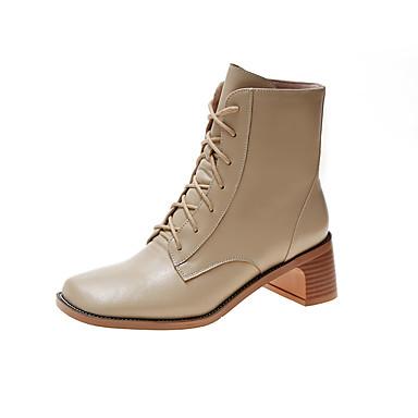 voordelige Dameslaarzen-Dames Laarzen Blokhak Vierkante Teen PU Kuitlaarzen Informeel Herfst Zwart / Khaki