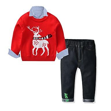 povoljno Odjeća za dječake-Djeca Dječaci Osnovni Festival Print Božić Dugih rukava Komplet odjeće Red