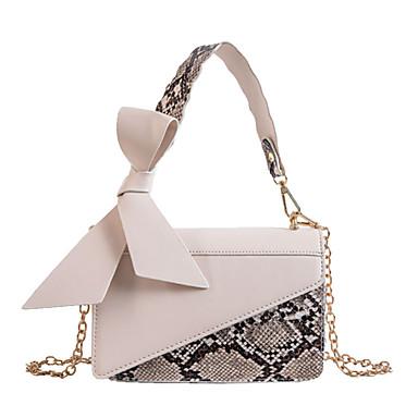 cheap New Arrivals Discount-Women's Bow(s) PU Top Handle Bag Snakeskin Black / Beige