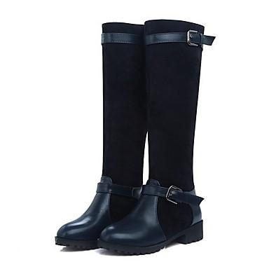 voordelige Dameslaarzen-Dames Laarzen Blok hiel Ronde Teen PU Knielaarzen Herfst winter Zwart / Lichtbruin / Marine Blauw