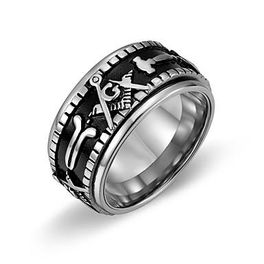 voordelige Dames Sieraden-Heren Bandring Ring 1pc Goud Zilver Goud / Zwart Titanium Staal Stijlvol Standaard Casual / Sporty Lahja Dagelijks Sieraden