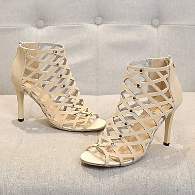 cheap Women's Sandals-Women's Sandals Stiletto Heel Peep Toe PU Summer Black / Wine / Beige