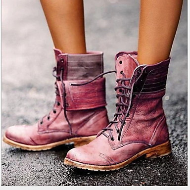 cheap New Arrivals-Women's Boots Comfort Shoes Flat Heel Round Toe PU Mid-Calf Boots Winter Brown / Red / Blue