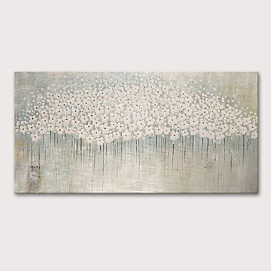 cheap Rolled Canvas Paintings-Oil Painting Hand Painted - Floral / Botanical Abstract Landscape Comtemporary Modern Rolled Canvas