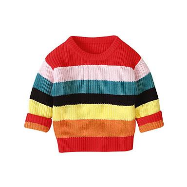 cheap Girls' Sweaters & Cardigans-Toddler Girls' Basic Striped Long Sleeve Sweater & Cardigan Rainbow