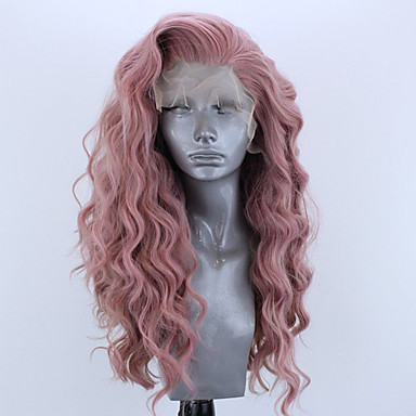 cheap Synthetic Lace Wigs-Synthetic Lace Front Wig Wavy Side Part Lace Front Wig Pink Long Pink Bleach Blonde#613 Green Black / Grey Purple Synthetic Hair 18-26 inch Women's Adjustable Heat Resistant Party Pink