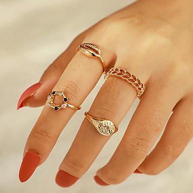 billige Motering-Dame Ring Ring Set 4stk Gull Strass Legering Annerledes Klassisk Vintage trendy Gave Daglig Smykker Utskjæring Skall