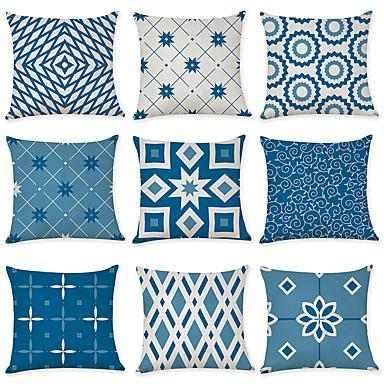 cheap Decorative Pillows-Set of 9 Linen Pillow Cover, Geometric Pattern Geometic Leisure Modern Throw Pillow