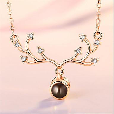 povoljno Modne ogrlice-Žene Kubični Zirconia Ogrlice s privjeskom Geometrijski Jelen Moda Glina Zlato Srebro 45+5 cm Ogrlice Jewelry 1pc Za Božić Dnevno