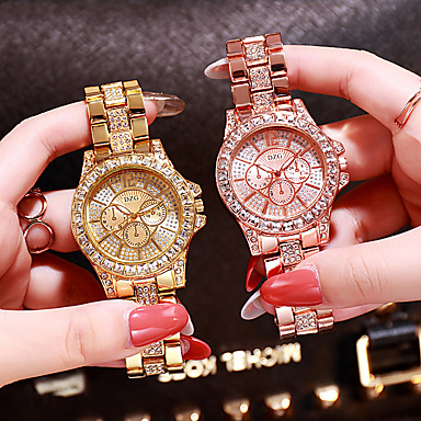 cheap Women's Watches-Women's Luxury Watches Diamond Watch Gold Watch Quartz Ladies Stainless Steel Silver / Gold / Rose Gold Analog - Rose Gold Gold Silver / Japanese / Japanese