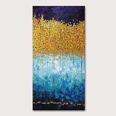 preiswerte überdimensional Farbe-Hang-Ölgemälde Handgemalte - Blumenmuster / Botanisch Abstrakte Landschaft Modern Fügen Innenrahmen