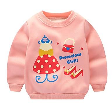 preiswerte Kapuzenpullover & Sweatshirts für Babys-Baby Mädchen Street Schick Druck Langarm Kapuzenpullover Rosa