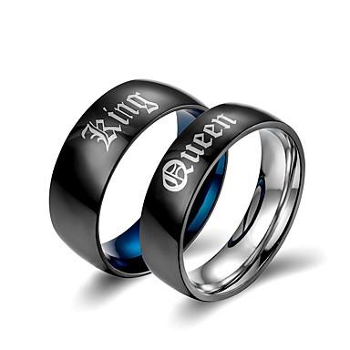 billige Motering-Par Band Ring 2pcs Svart Titan Statement Klassisk Europeisk Bryllup Engasjement Smykker Bokstaver