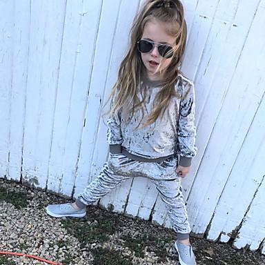 cheap Baby & Kids-Kids Toddler Girls' Active Basic School Festival Solid Colored Long Sleeve Regular Regular Clothing Set Black