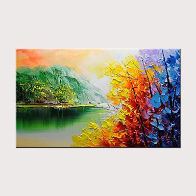 preiswerte überdimensional Farbe-Hang-Ölgemälde Handgemalte - Abstrakt Landschaft Modern Ohne Innenrahmen