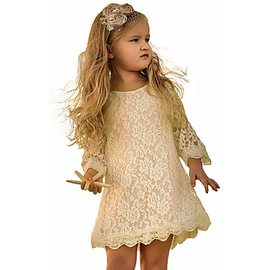 cheap Baby & Kids-Kids Toddler Girls' Sweet Floral Solid Colored Lace 3/4 Length Sleeve Above Knee Dress Wine