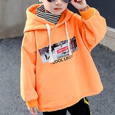 preiswerte Kapuzenpullover & Sweatshirts für Jungen-Kinder Jungen Street Schick Druck Langarm Kapuzenpullover Orange