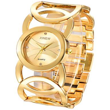 povoljno Ženski satovi-Žene Luxury Watches Ručni satovi s mehanizmom za navijanje Kvarc Nehrđajući čelik Zlatna Casual sat Cool Analog dame Okrugla - Zlato