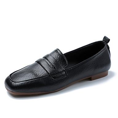 levne Dámské boty s plochou podrážkou-Dámské Bez podpatku Rovná podrážka Čtvercová špička Stuha PU Na běžné nošení Chůze Podzim zima Černá / Bílá