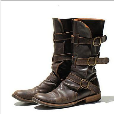 Women's Boots Flat Heel Round Toe PU Mid-Calf Boots Fall & Winter Black / Brown / Blue