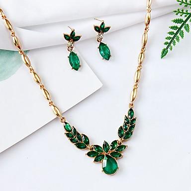 levne Dámské šperky-Dámské Syntetický smaragd Náhrdelník Náušnice Módní Elegantní Náušnice Šperky Zlatá Pro Párty Denní 1 sada