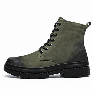 Férfi Kényelmes cipők Nappa Leather Tél Csizmák Magas szárú csizmák Fekete / Zöld