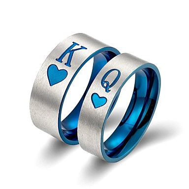 preiswerte Eheringe-Paar Bandring 2pcs Blau Titan Erklärung Klassisch Europäisch Hochzeit Verlobung Schmuck Buchstabe