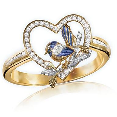 billige Motering-Dame Ring 1pc Gull Strass Legering Annerledes Klassisk Mote søt stil Gave Daglig Smykker Klassisk Fugl Hjerte