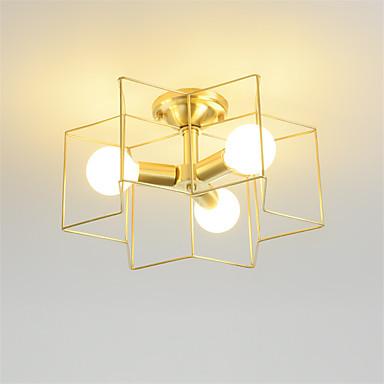 Háromfejű nordic stílusú ötágú csillag kialakítású réz mennyezeti lámpa amerikai félig süllyesztett tartó nappali étkező hálószoba fény