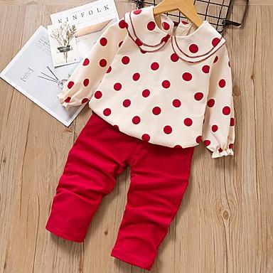 povoljno Odjeća za bebe-Dijete Djevojčice Osnovni Na točkice Dugih rukava Regularna Komplet odjeće Plava