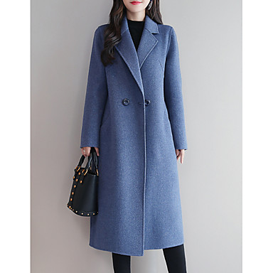 cheap New Arrivals-Women's Daily Long Coat, Solid Colored Peaked Lapel Long Sleeve Polyester Black / Royal Blue / Red