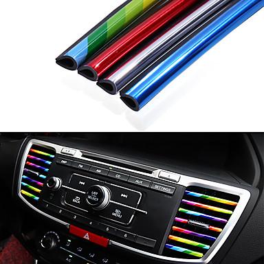 cheap DIY Car Interiors-10pcs/pack Car Styling Mouldings Air Outlet Trim Strip Cars Decoration Strips Chrome Auto Air Vent Grilles Rim Trim Car Accessories
