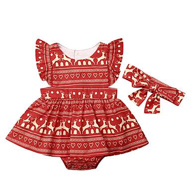 cheap Baby & Kids-2pcs Baby Girls' Boho Deer Print / Christmas Print Sleeveless Overall & Jumpsuit Red / Toddler