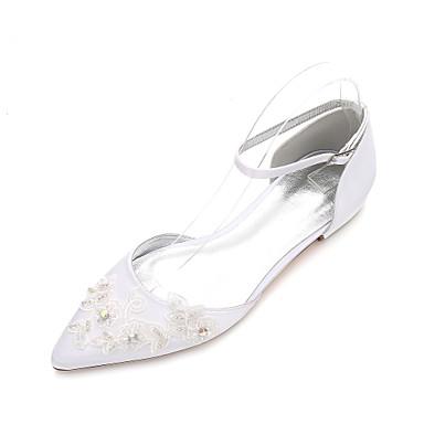 Női Esküvői cipők Lapos Erősített lábujj Strasszkő / Glitter / Tűzött csipke Szatén Klasszikus / Édes Tavaszi nyár / Ősz & tél Fehér / Kristály / Party és Estélyi