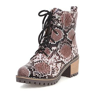 Női Csizmák Nyomtatási cipő Vaskosabb sarok Kerek orrú PU Bokacsizmák Vintage / Alkalmi Tél Fekete / Barna / Piros
