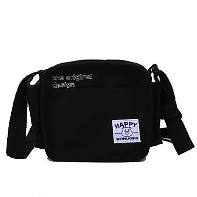 Női Cipzár Vászon Vállon átvetős táska Tömör szín Fekete / Fehér