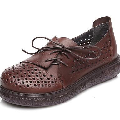 levne Dámské boty s plochou podrážkou-Dámské Bez podpatku Rovná podrážka Oblá špička PU Podzim zima Černá / Kávová