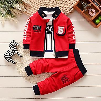 preiswerte Babykleidung Jungen-Baby Jungen Grundlegend Weiß / Rot Gestreift / Druck Druck Langarm Lang Lang Kleidungs Set Rote