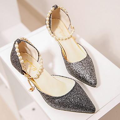 cheap Women's Heels-Women's Heels Low Heel Pointed Toe PU Summer Black / Gold / Silver