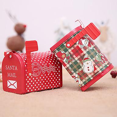 ajándék ón doboz gyerekeknek karácsonyi postaláda Mikulás hóember nyomtatott jar lezárt csomagoló dobozok