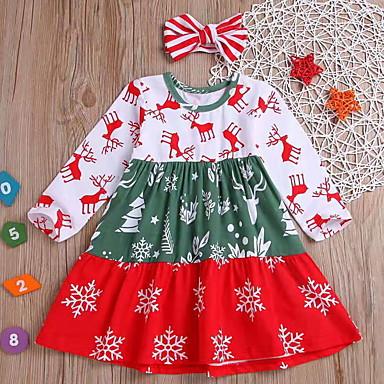 povoljno Odjeća za bebe-Dijete Djevojčice Osnovni Cvjetni print / Božić Print Dugih rukava Haljina Red / Dijete koje je tek prohodalo