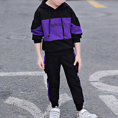 cheap Boys' Clothing Sets-Kids Toddler Boys' Basic Street chic Street Casual / Daily Black & Red Print Patchwork Long Sleeve Short Regular Clothing Set Purple