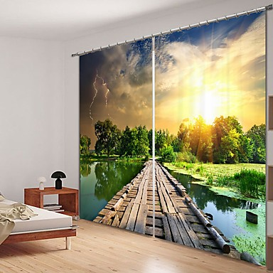 kis híd a folyón digitális nyomtatás 3d függöny árnyékoló függöny nagy pontosságú fekete selyem anyagból kiváló minőségű függöny