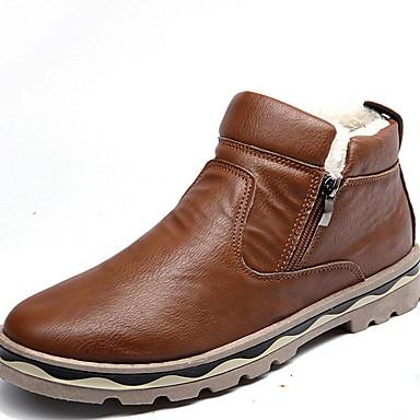 preiswerte Schuhe und Taschen-Herrn Schneestiefel Gummi / Mikrofaser Winter Stiefel Mittelhohe Stiefel Schwarz / Braun