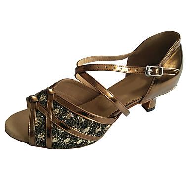 cheap New Arrivals-Women's Dance Shoes PU Latin Shoes Sparkling Glitter Heel Cuban Heel Bronze